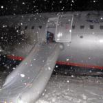 A321 Аэрофлота вышел на снег Калининграда